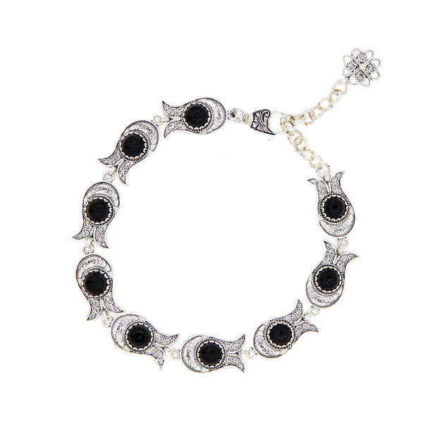925 Sterling Silver Artisan Crafted Filigree Style Tulip Design Bracelet Black Onyx / Blue Agate Gemstones