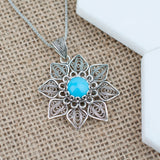 925 Sterling Silver Filigree Style Star Figured Pendant on a Chain with Genuine Amber / Turquoise / Citrine Gemstones