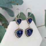 Sterling Silver Dangle Sapphire Emerald Filigree Earrings gift for her gift for mothers day