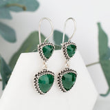 Sterling Silver Dangle Emerald Filigree Earrings gift for her gift for mothers day