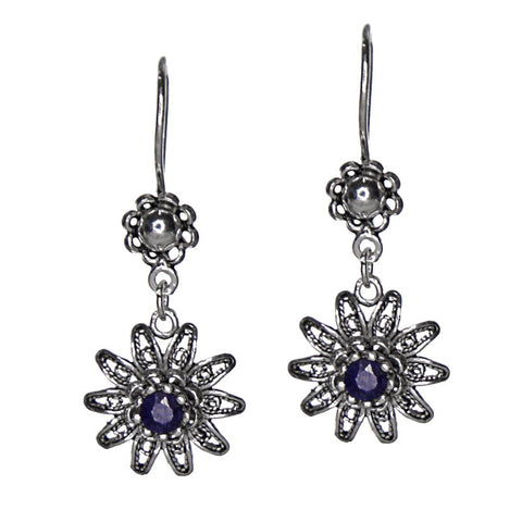 Sterling Silver Black Sapphire Floral Earrings