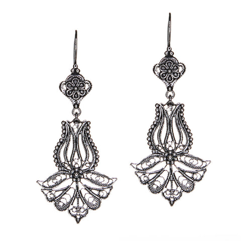 Sterling Silver Filigree Tulip Drop Earrings
