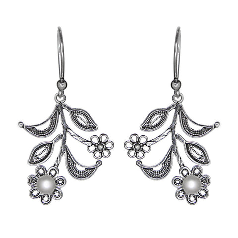 Sterling Silver Filigree Floral Design Pearl Earrings