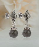 Genuine 18 ct Labradorite Gemstone 925 Sterling Silver Filigree Style Earrings_01
