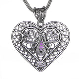 Heart-Shaped Filigree Amethyst Pendant