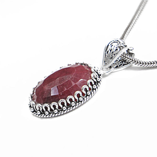 Sterling Silver Filigree Ruby Oval Pendant