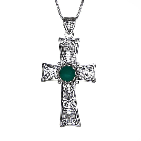 Sterling Silver Green Agate Filigree Cross
