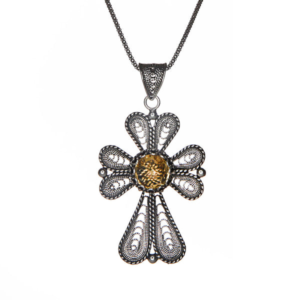 Sterling Silver Artisan Crafted Citrine Cross