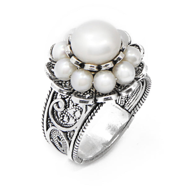 Sterling Silver Filigree Two Layered Floral Pearl Ring