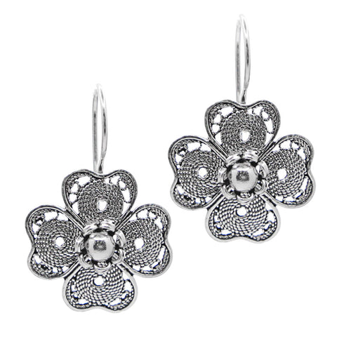 Sterling Silver Filigree Four Clover Leaf Earrings