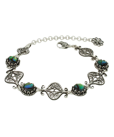 925 Sterling Silver Filigree Style Bracelet Genuine Amethyst / Abalone / Black Spinel / Ruby Gemstones