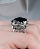 925 Sterling Silver Filigree Style Genuine Black Spinel / Carnelian  / Lapis Lazuli  Gemstone Oval Crown Ring