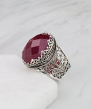 925 Sterling Silver Filigree Style Genuine Amazonite / Ruby  / Green Agate  Gemstone Oval Crown Ring