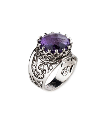 925 Sterling Silver Filigree Style Genuine Blue Topaz / Amethyst / Citrine Gemstone King`s Crown Ring