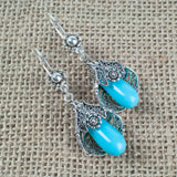 925 Sterling Silver Filigree Style Blossoming Genuine Pearl / Turquoise Drop Conic Earrings
