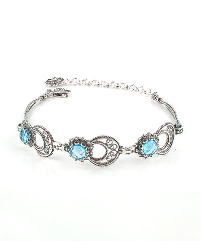 Sterling silver filigree moon star bracelet blue topaz