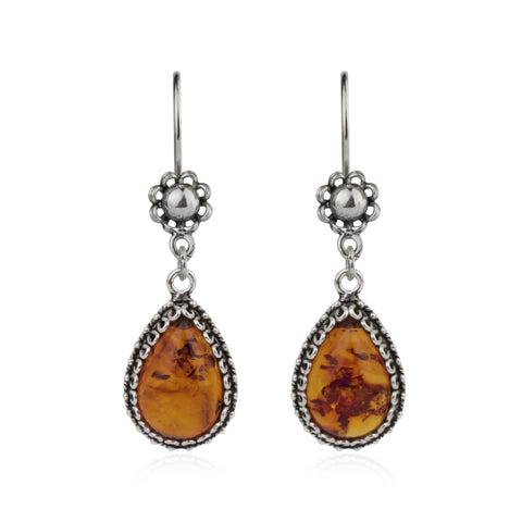 925 Sterling Silver Filigree Style Teardrop Shaped Floral Design Earrings Genuine Amber / Mother of Pearl / Carnelian / Sodalite Gemstones
