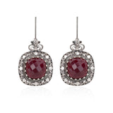 925 Sterling Silver Filigree Style Square Shaped Floral Design Earrings Genuine Amethyst / Ruby / Blue Topaz Gemstones