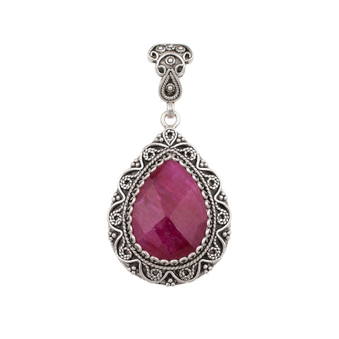 925 Sterling Silver Filigree Teardrop Pendant with Genuine Amethyst / Sapphire / Ruby / Unakite Gemstones