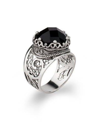 925 Sterling Silver Filigree Style Queen`s Crown Figured Ring Genuine Black Spinel / Labradorite / Hematite Gemstones