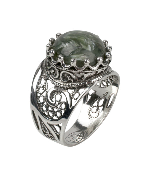 925 Sterling Silver Filigree Style Genuine Leopard Jasper / Serpentine Gemstone King`s Crown Ring