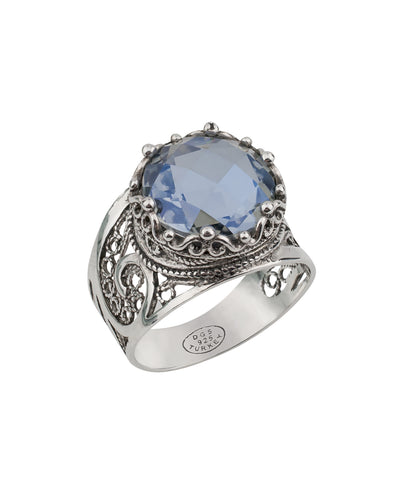 925 Sterling Silver Filigree Style Genuine Blue Iolite / Amethyst / Citrine Gemstones Queen`s Crown Ring