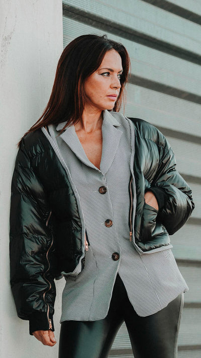 CHAQUETA BOMBER TRANSFORMABLE NEGRA