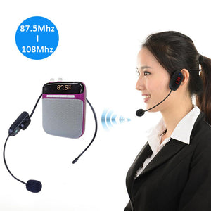 Microphone Headset Radio FM Wireless Headset Microphone Handsfree Megaphone Mic for Teaching Conference Guide Studio Promotion