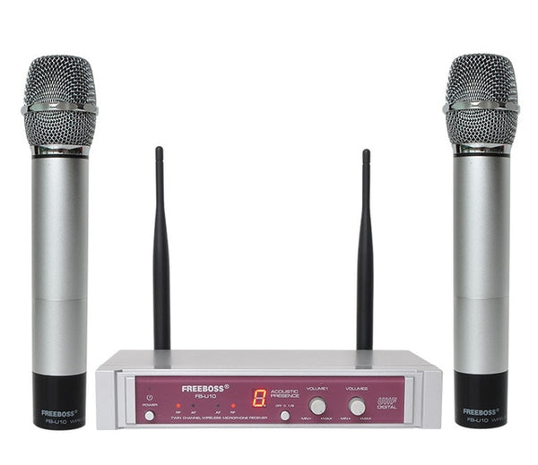 Freeboss FB-U10 Dual Way Digital UHF Wireless Microphone with 2 Metal Handhelds