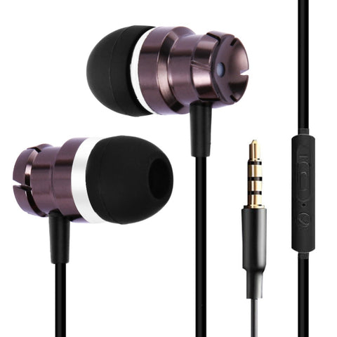 Metal In Ear Earphones Turbo Bass Wired in-ear 3.5mm Wired Headset Headphone with Microphone Universal for Computer Mobile Phone
