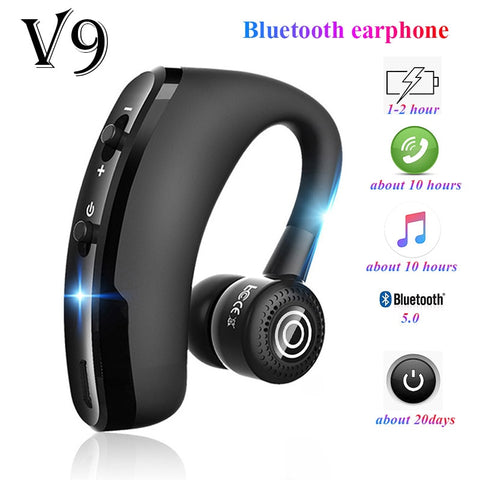 V9 earphones Bluetooth headphones Handsfree wireless headset Business headset Drive Call Sports earphones for iphone Samsung