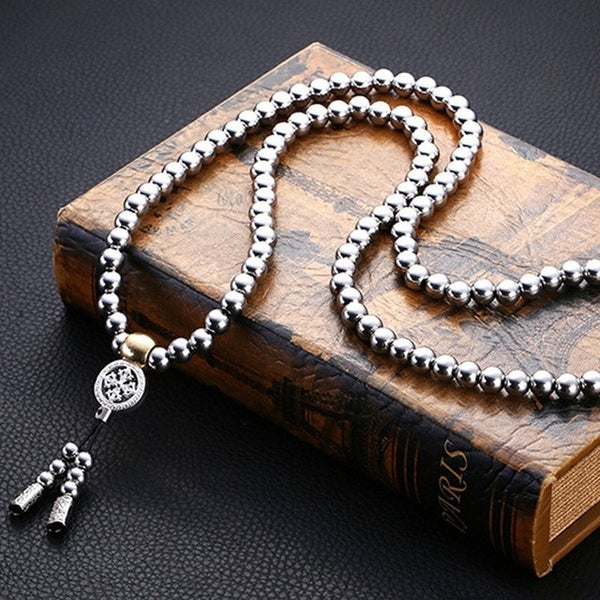 Tactical 10MM Buddha Beads Bracelet EDC Outdoor Tools Self-Defense Protection Survival Necklace Chain Whip