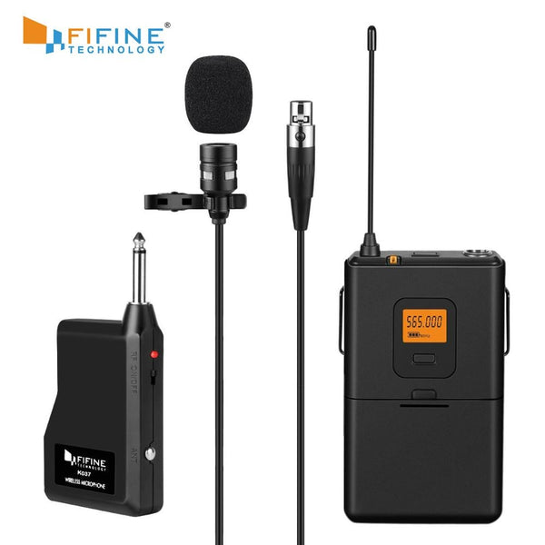 Fifine 20-Channel UHF Wireless Lavalier Lapel Microphone System with Bodypack Transmitter, Mini  Lapel Mic & Portable Receiver