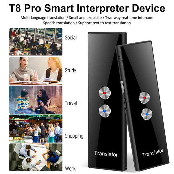 T8 Pro Portable Intelligent Voice Translator40 Languages Two-Way Real Time Instant Voice Translator APP Bluetooth Multi-Language