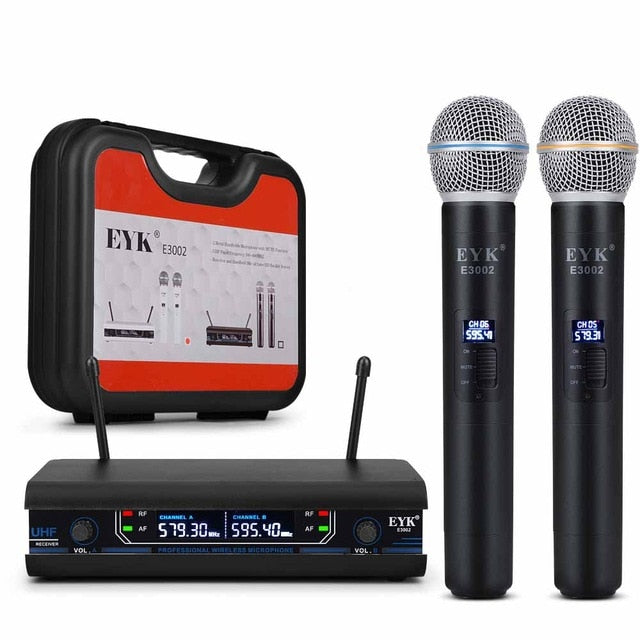 EYK E3002 UHF Fixed Frequency Karaoke Wireless Microphone Professional Cordless All Metal Handheld Mic System with Carrying Case