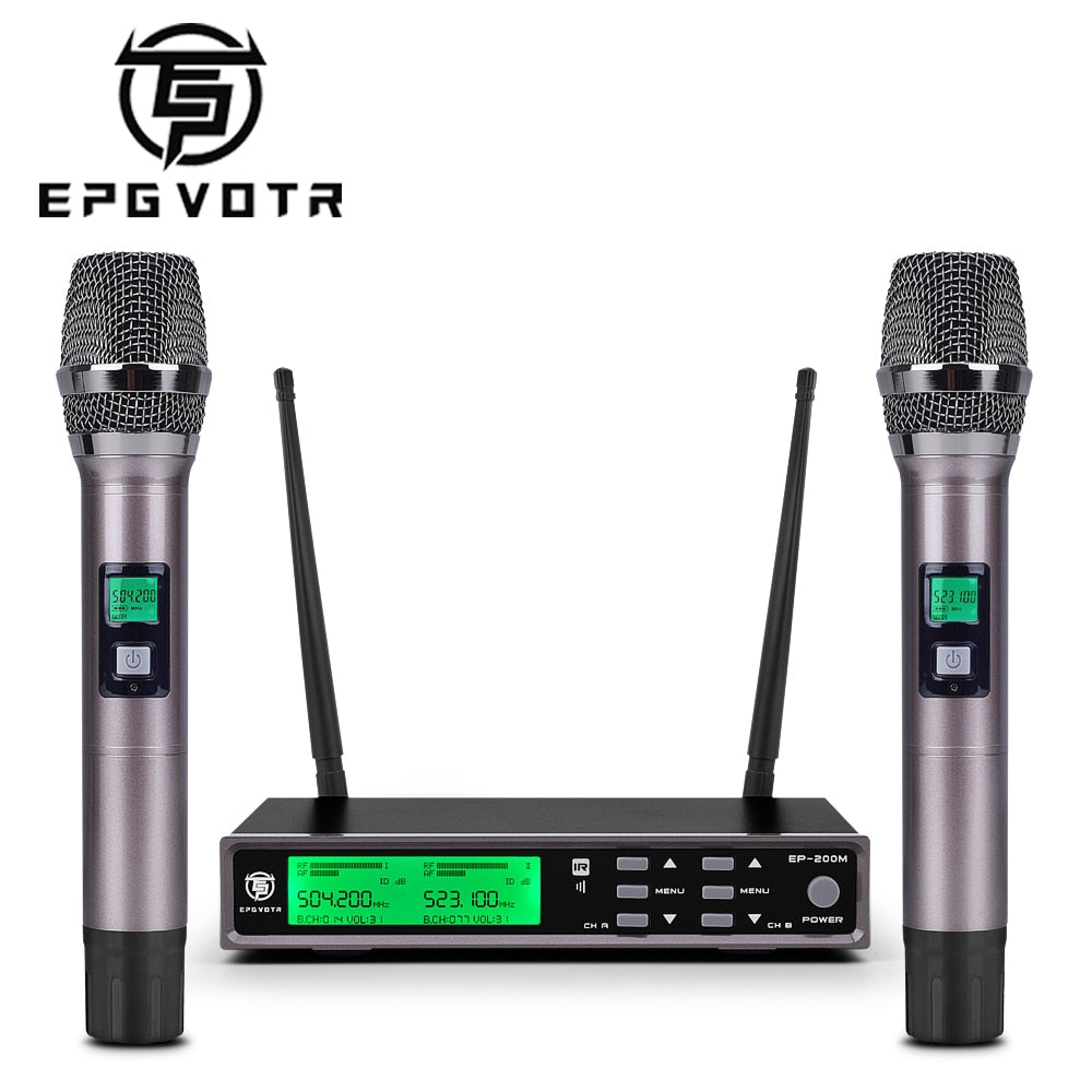EPGVOTR EP-200M UHF Wireless Microphone System with ECHO Effect Treble Bass 200 Channels 100 Meters Full Metal Dual Handheld Mic
