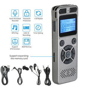 Professional High Definition Digital Sound Voice Recorder MP3 Player Voice-Activated Recording One-Button Record 8G Capacity