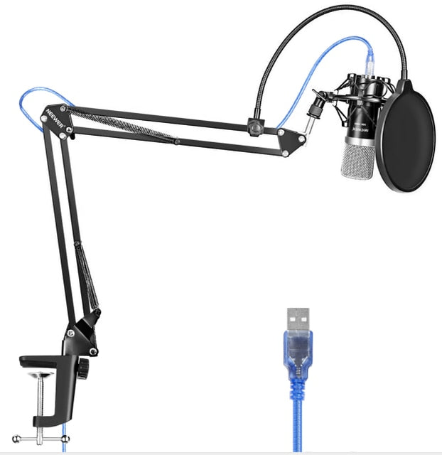 Neewer USB Recording Microphone For Windows with Suspension Scissor Arm Stand Cardioid Studio Recording Vocals Voice YouTube