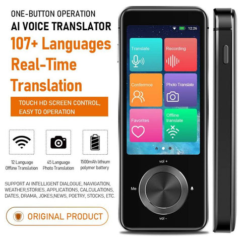 107 Languages Two-Way Real-Time WiFi/Offline Recording/Photo Portable Translator