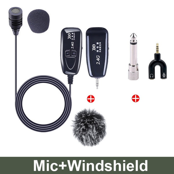 2.4G Wireless Lavalier Microphone Lavalier Lapel Clip-on Mic for iPhone Android Phone Voice Video Recording Mic Accessories