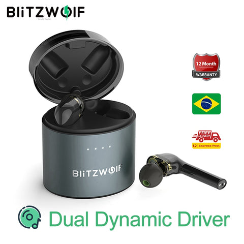 BlitzWolf BW-FYE8 TWS True Wireless bluetooth 5.0 Earphone Dual Dynamic Driver Hands-free Hifi Earbuds IPX5 Long Handle