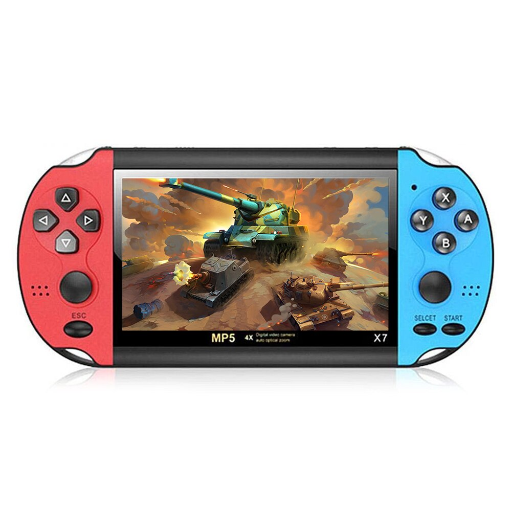 Powkiddy X7 4.3 inch LCD Handheld Game Player 8GB Pocket Game Console 5.1 Stereo Surround Multifunction Console with 3000 Games