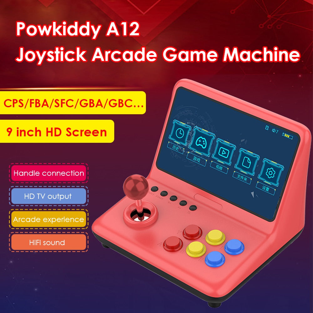 POWKIDDY A12 9 inch Arcade Joystick Game Console 32GB 2000 Games Stick Gaming Video Player 1024*600 Resolution Gaming Console