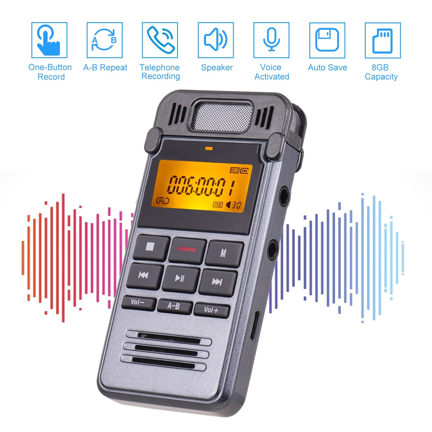 Digital Voice Sound Recorder MP3 Music Player One-Button Recording Voice-Activated Support Recording Monitor Recording 8GB