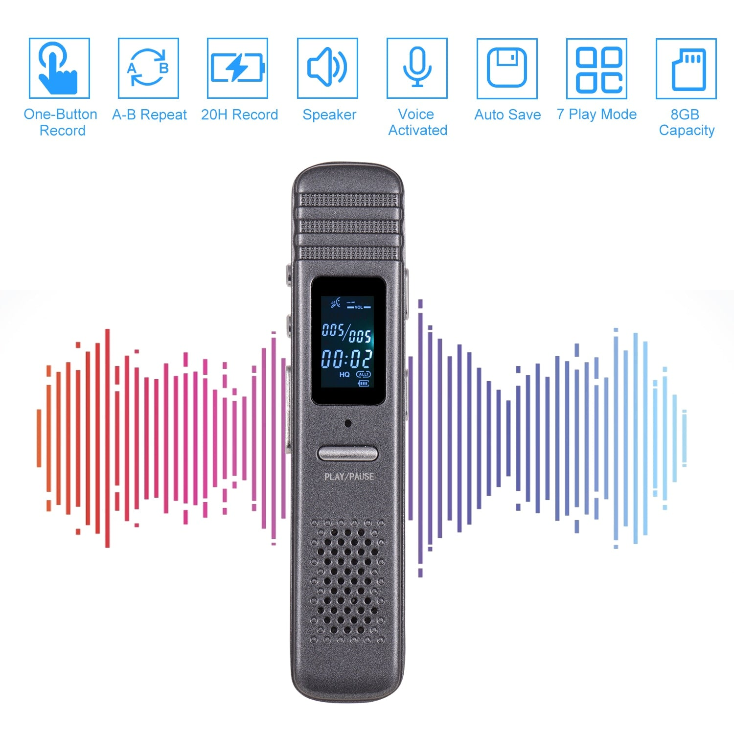Digital Voice Recorder MP3 Music Player One-Button Recording with Loudspeaker 7 Play Mode with Earphone USB Cable 8GB Capacity