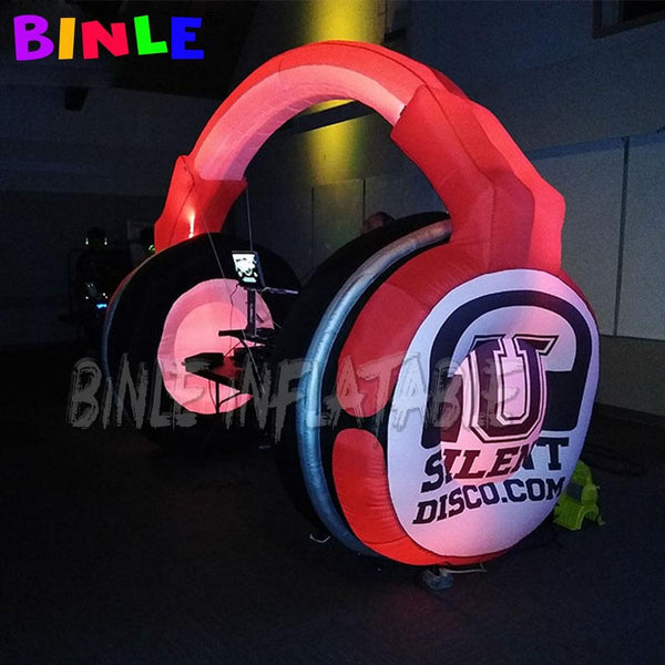 Advertising red and black Inflatable Earphone Inflatable Headphone Model with led lights for music festival DJ stage decoration