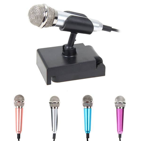 3.5mm Audio plug Wired Mini Microphone Portable Stereo Condenser With Mic Stand for Chatting/Singing/Karaoke/PC/ IPhone/Samsung