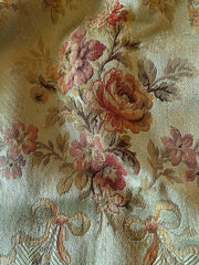 Antique French silk brocade with a rose floral design on an olive green ground | Pavilion Parade