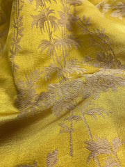 Antique gold silk damask, 19th century French, with palm motif | Pavilion Parade
