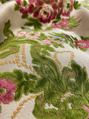 Antique velvet brocade circa 1900 in green pink and wine tones on a cream ground | Pavilion Parade